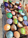 Lacquer Coconut Shell Bowls. Colourful decorative lacquer coconut shell bowls Stock Image