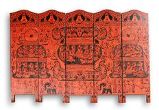 Lacquer folding screen. From Myanmar isolated on white Stock Photography