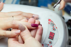 Lacquer on the nails. Naroscheny lacquer on the nails in the nail salon Stock Image