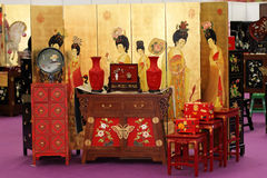THe Lacquer ware and Furniture. The Chinese ancient style furniture and lacquer Stock Images