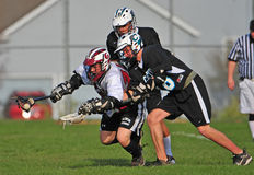 Lacrosse 2 op 1 Stock Afbeelding