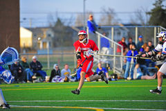 Lacrosse blocking a shot on goal stock photography