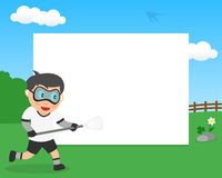Lacrosse Boy in the Park Horizontal Frame Royalty Free Stock Image