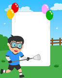Lacrosse Boy Photo Frame. Photo frame, invitation card or page for your scrapbook. Subject: a boy playing lacrosse in a park. Eps file available Stock Images