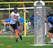 Lacrosse Chumash shot on goal Stock Photos