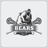 Lacrosse club emblem with head of bear. Royalty Free Stock Images