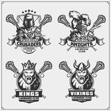 Lacrosse club emblems with viking, king, knight and crusader. Black and white Royalty Free Stock Images