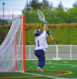 Lacrosse, der den Rahmen blockt Stockfotos