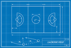 Lacrosse field on blueprint. Image of lacrosse field on blueprint. Transparency used Royalty Free Stock Photo