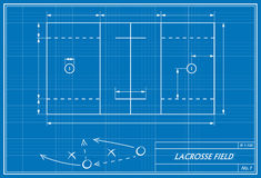 Lacrosse field on blueprint. Image of lacrosse field on blueprint. Transparency used Royalty Free Stock Photos