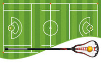 Lacrosse Field and Stick Illustration Stock Images