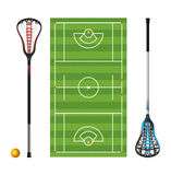 Lacrosse Field and Sticks and Balls Royalty Free Stock Photo