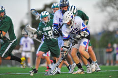 Lacrosse fight for the ball stock photos