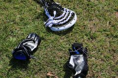 Lacrosse Gear. Gloves and Lacrosse stick laying on the field royalty free stock photography