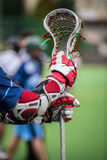 Lacrosse. Gear/ stick and helmet stock image