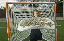 Lacrosse girl Behind the stick Stock Images