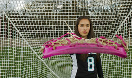 Lacrosse girl game face Stock Photos