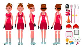 Women s lacrosse Vector. Lacrosse Practice. Teammates. Aggressive Women s player. Isolated Flat Cartoon Character. Lacrosse Girl Vector. Catch The Ball. Running Stock Photography