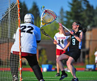 Lacrosse girls ball control stock photography
