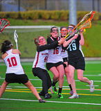 Lacrosse girls Blocking the shot Stock Photography