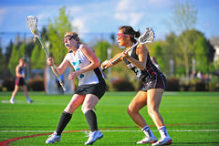 Lacrosse girls draw to start the game Royalty Free Stock Photos