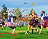 Lacrosse girls goalie block Stock Photo