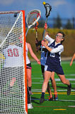 Lacrosse girls shot on goal royalty free stock images