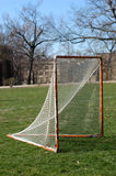 Lacrosse Goal. On collage campus. On green grass and blue sky Royalty Free Stock Image