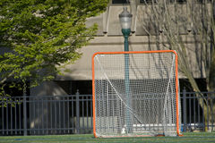Lacrosse goal in city park setting Royalty Free Stock Photography