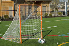 Lacrosse Goal and helmet stock photos