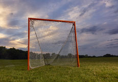Lacrosse goal with sunset. Lacrosse goal on grass with sunset in background royalty free stock photos