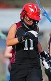 Lacrosse Goalie. High School girls lacrosse goalie in gear royalty free stock photo