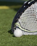 Lacrosse goalie scooping up the ball 1 Stock Image