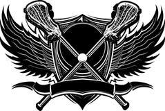 Lacrosse haftet aufwändige grafische Schablone Stockfoto