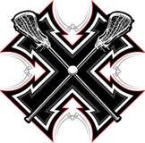 Lacrosse haftet grafische Schablone Lizenzfreie Stockbilder