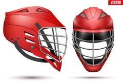 Lacrosse Helmet set. Red Lacrosse Helmet Set. Front and Side View. Sport goods and equipment. Vector Illustration on white background vector illustration