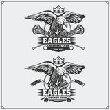 Lacrosse and hockey logos and labels. Sport club emblems with eagle. Royalty Free Stock Photos