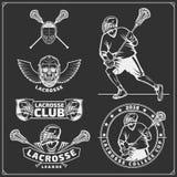 Lacrosse klubu etykietki, emblematy, projektów elementy i sylwetki gracze, ilustracja wektor