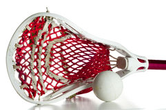 Lacrosse-Kopf mit einer grauen Kugel Stockfotografie