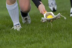 Lacrosse low to the ground. Womens Lacrosse players kneeling down to scoop up a ball durring a game on a grass field stock photography