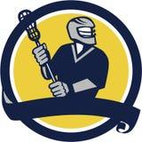 Lacrosse Player Ribbon Circle Retro Royalty Free Stock Images