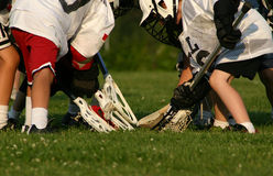 Lacrosse players. A bunch of young lacrosse players going for the ball Royalty Free Stock Photos