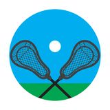 Lacrosse realistic net sticks and ball icon stock photography