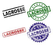 Grunge Textured LACROSSE Seal Stamps. LACROSSE seal prints with distress texture. Black, green,red,blue vector rubber prints of LACROSSE tag with corroded royalty free illustration
