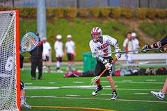 Lacrosse shot on goal stock image