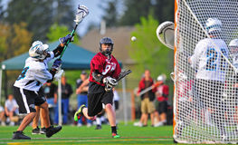 Lacrosse shot on goal Stock Images