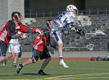 Lacrosse shot on goal. Royalty Free Stock Photography