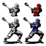Lacrosse-Spieler, der Kugel-Abbildung schaukelt stock abbildung
