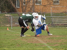 Lacrosse-Spieler stellen weg gegenüber Stockbilder
