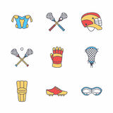 Lacrosse sport game vector line icons. Ball, stick, helmet, gloves, girls goggles. Linear colored signs set. Championship pictograms with editable stroke for royalty free illustration